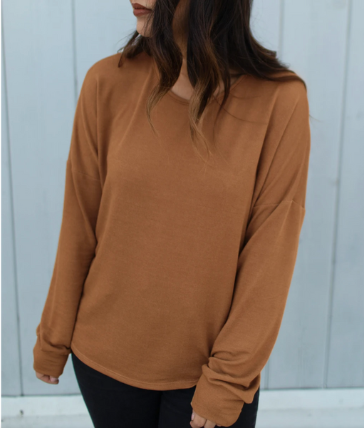 Delancey French Terry Pullover in Camel