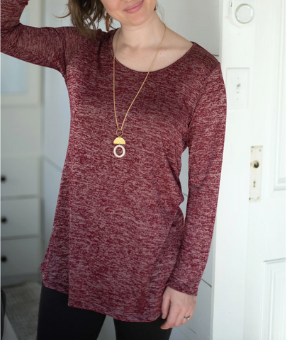 York Sheath Cut Tunic in Burgundy / White