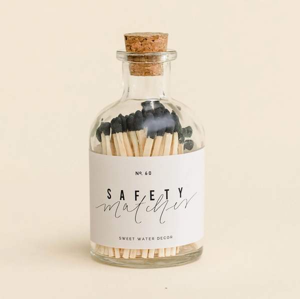 Black Safety Matches in Apothecary Jar
