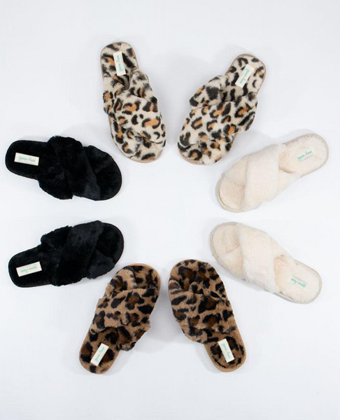 Criss Cross Slippers -- Brown Leopard