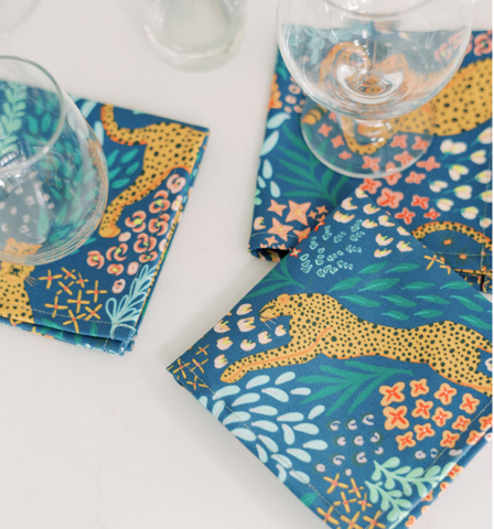 COCKTAIL NAPKINS BLUE CHEETAH -- Spoonflower x The Flourish Market Limited Edition Home Collection