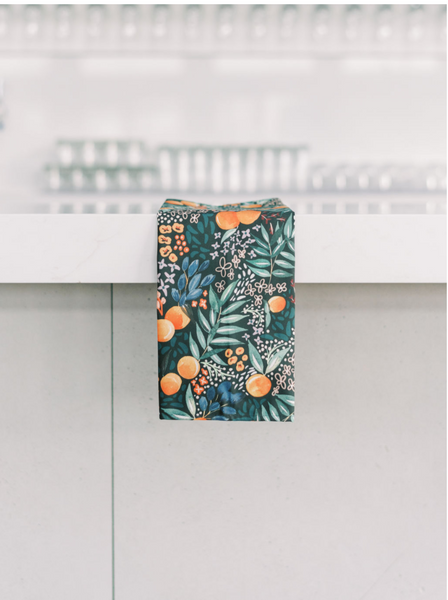 TEA TOWEL NAVY FRUIT -- Spoonflower x The Flourish Market Limited Edition Home Collection
