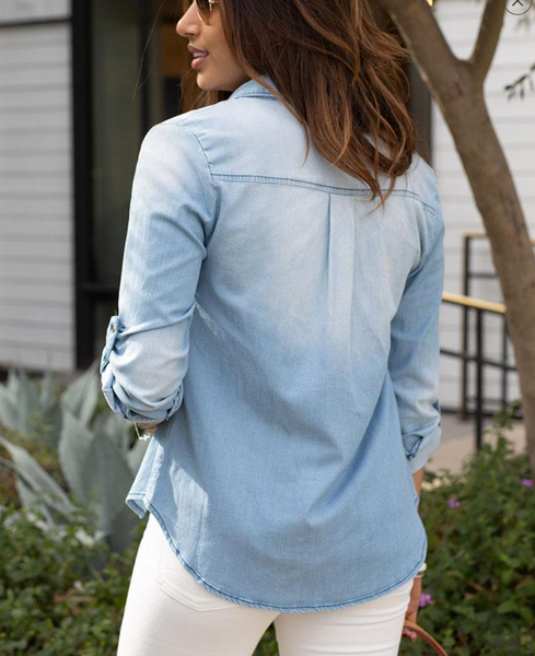 Stretch Chambray Button Top -- Light Wash