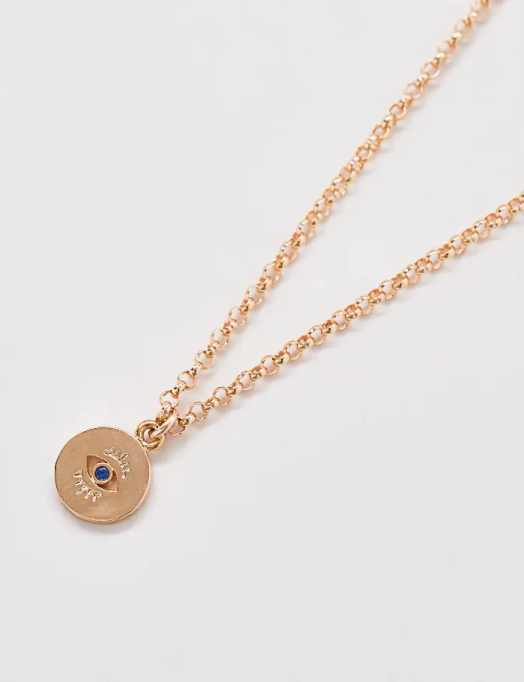 Evil Eye Coin Pendant Necklace -- Gold