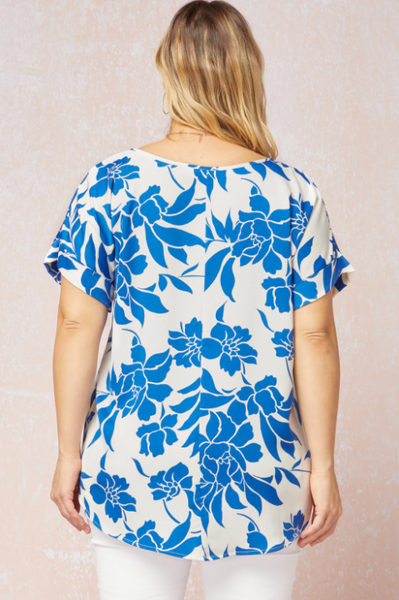 Sonja Top Plus -- Ivory/Blue
