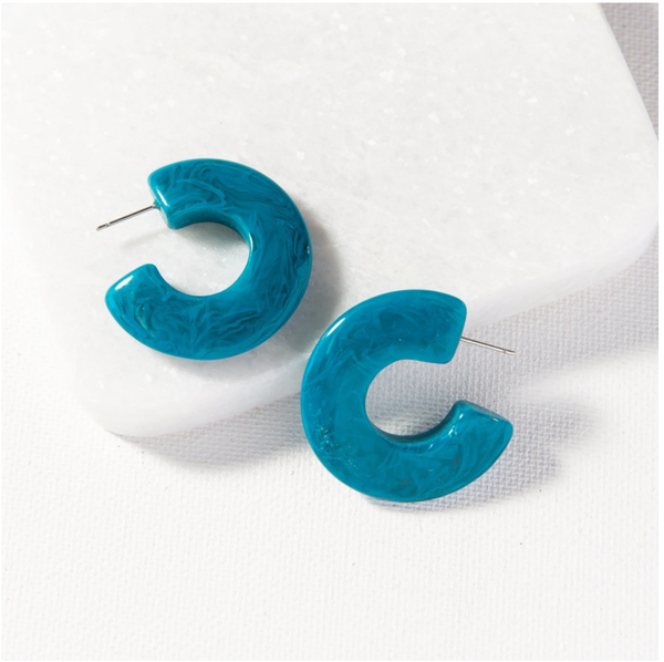 Turquoise Marbled Acetate Earrings