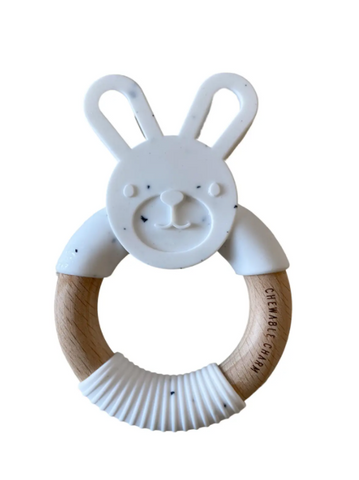 Bunny Silicone + Wood Teether -- Moonstone