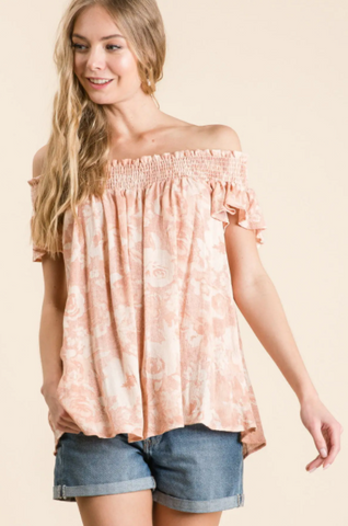 Rosalia Top -- Peach