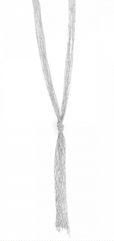 Mata Traders Knotted Fringe Necklace -- Silver --Jewelry The Flourish Market