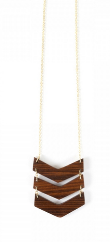 Chevron Necklace -- Wood