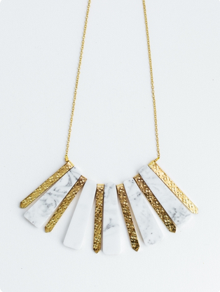 Marbled Rays Necklace -- White