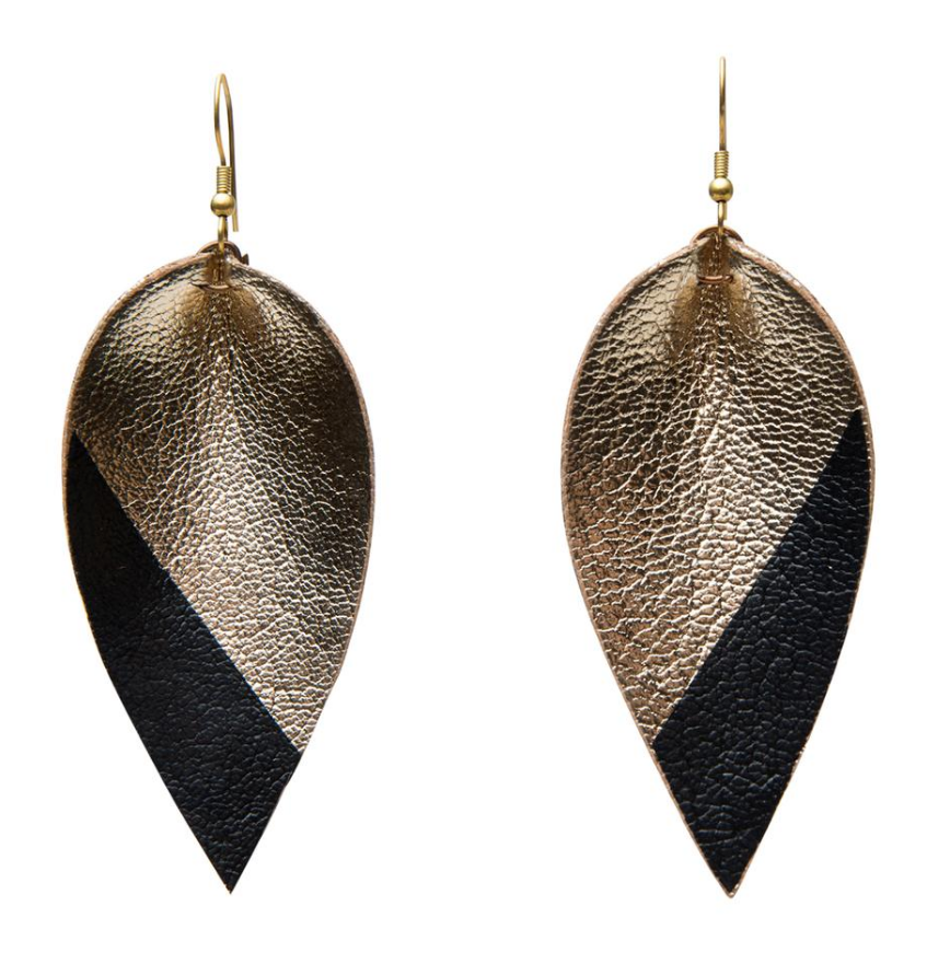 Dipped Leather Zias -- Black on Gold