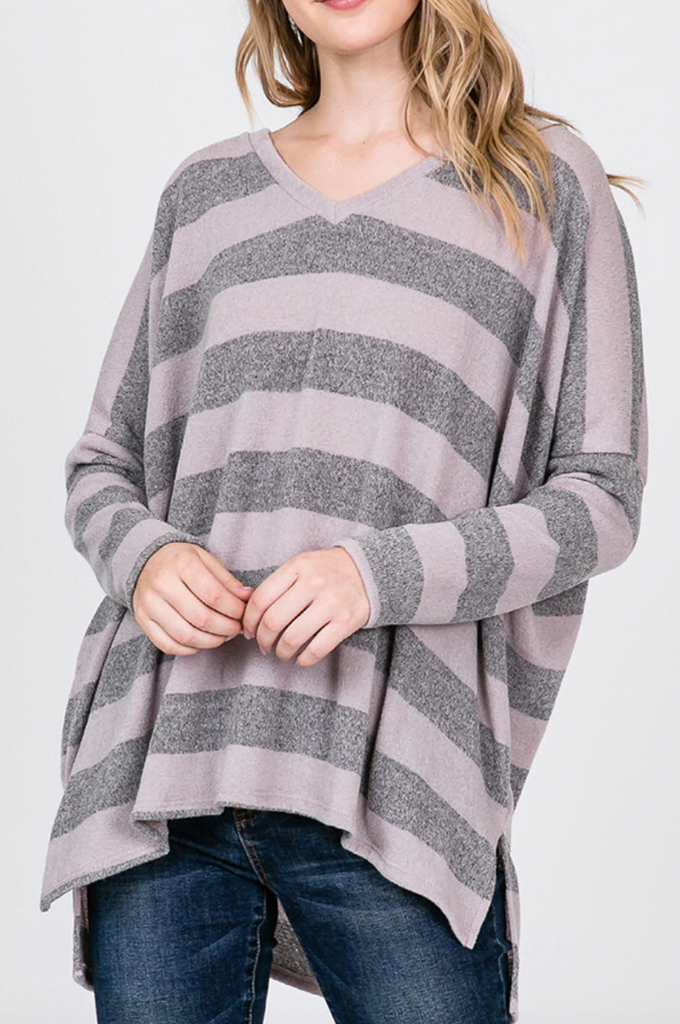 Lilac Striped Swing Top