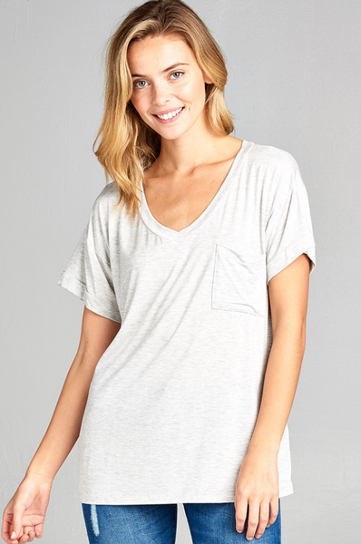 Rae Pocket Tee -- Heather Grey