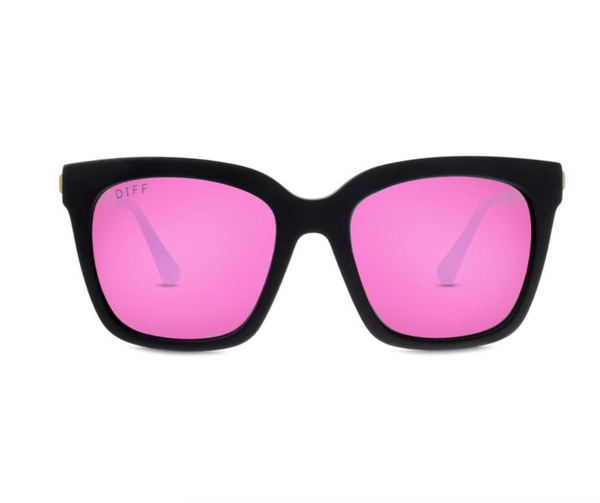 Diff Bella Sunglasses -- Matte Black & Pink Mirror Polarized Lens