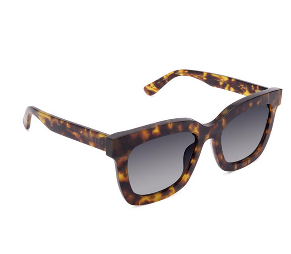 Diff Carson Sunglasses -- Amber Tortoise & Blue Steel Gradient Polarized Lens