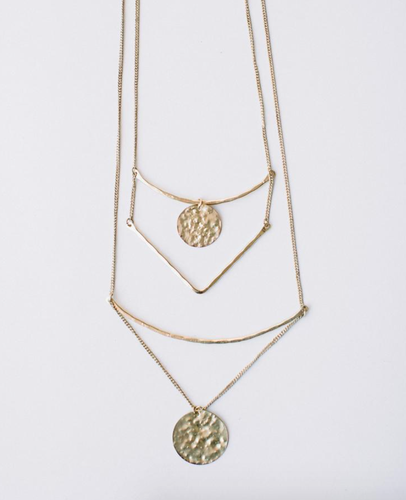 Tiered Sun Drop Necklace -- Gold