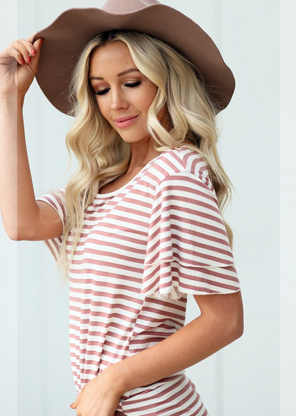 Striped Ruffle Tee -- Antique Blush
