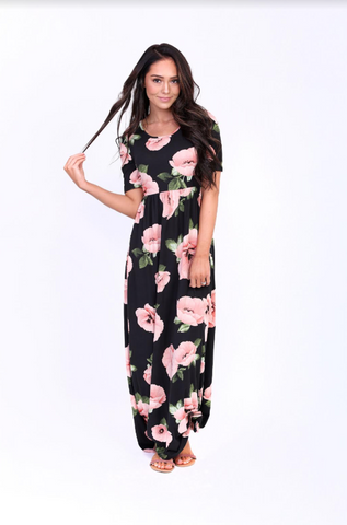 The Everyday Maxi -- Black Floral/Cream