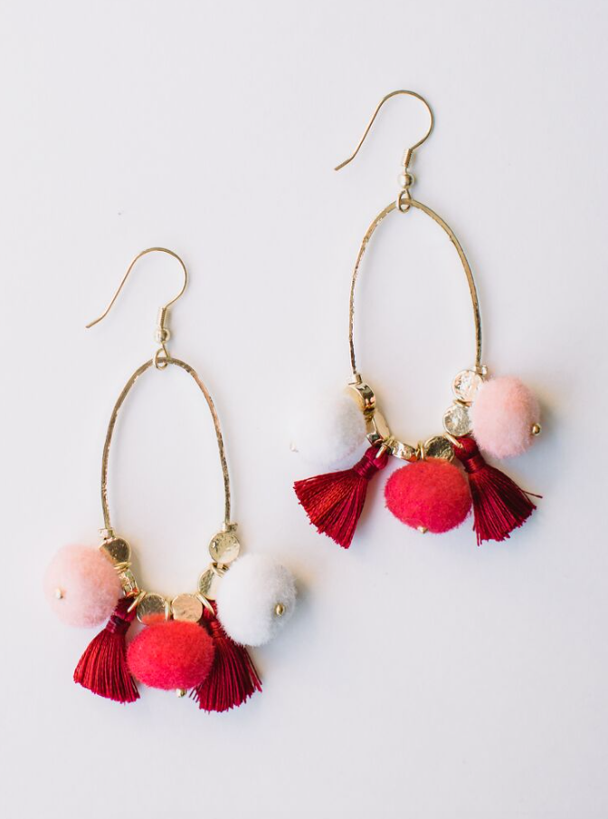 Fiesta Pom Earrings -- Red
