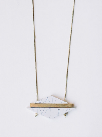 Modern Marble Necklace -- White