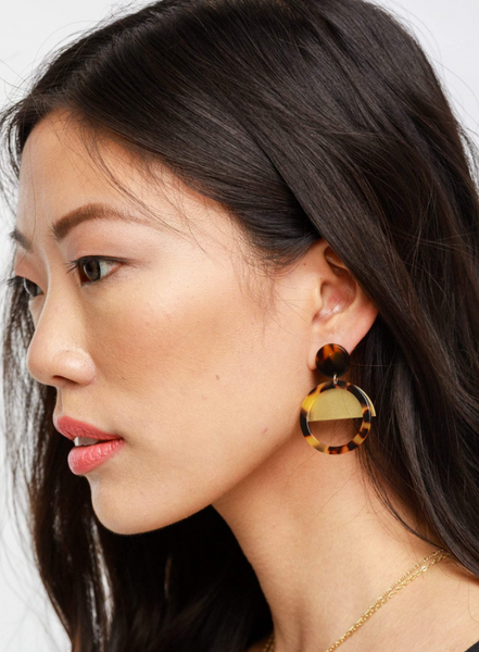 Nile Earrings -- Auburn Tortoise