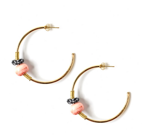 Oma Beaded Hoop Earrings -- Coral
