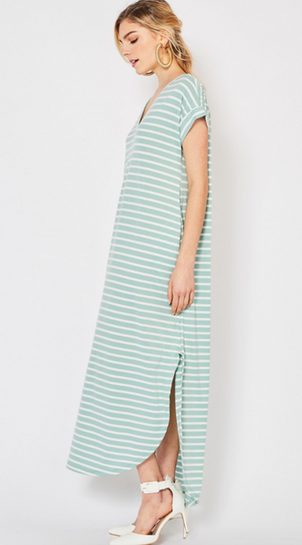 Nora Dress -- Mint Stripe