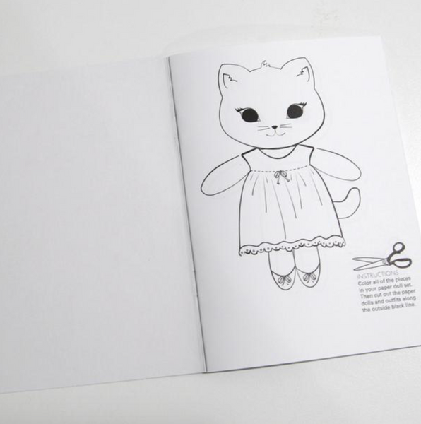 Kitty Friends Paper Dolls Coloring Book