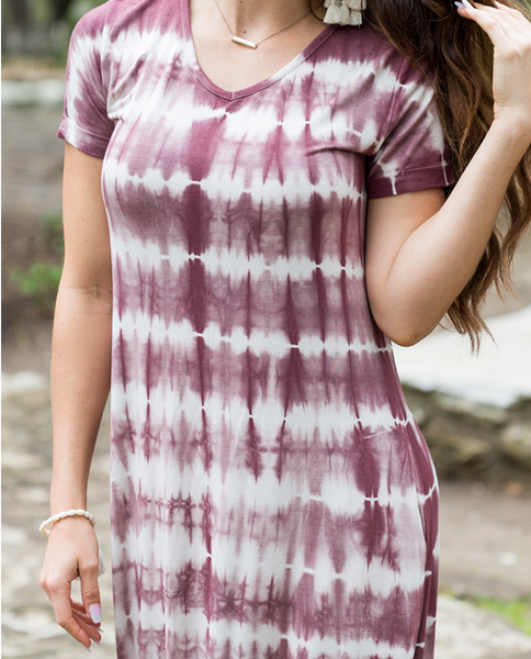 Perfect Pocket Tee Maxi Dress -- Washed Plum