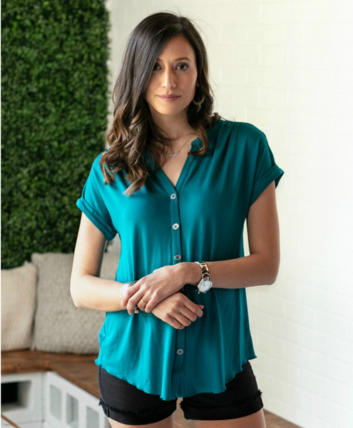 Button Up Crepe Top -- Teal