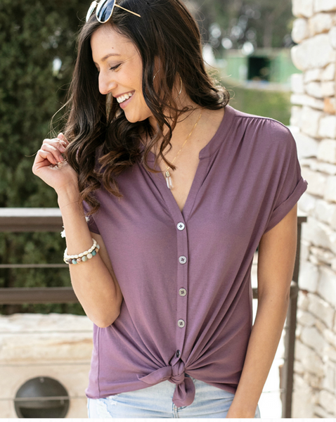 Button Up Crepe Top -- Dusty Purple