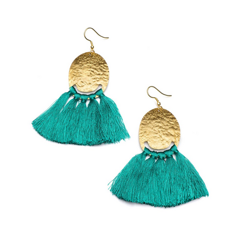 Nihira Tassel Earrings -- Teal