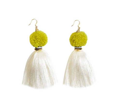 Pom Pom Tassel Earrings -- Pear