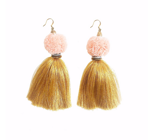 Pom Pom Tassel Earrings -- Quartz