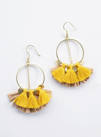 Raffia Charm Earrings -- Yellow