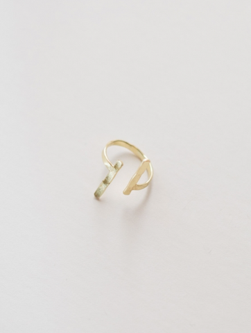 Hammered Couplet Ring -- Gold