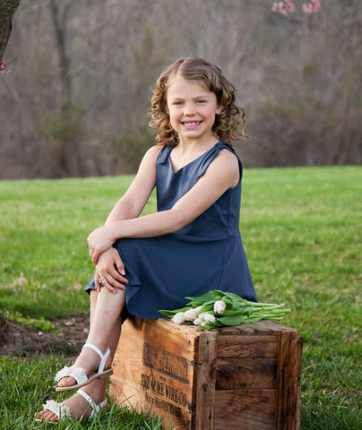 Ellie Girl's Dress -- Navy
