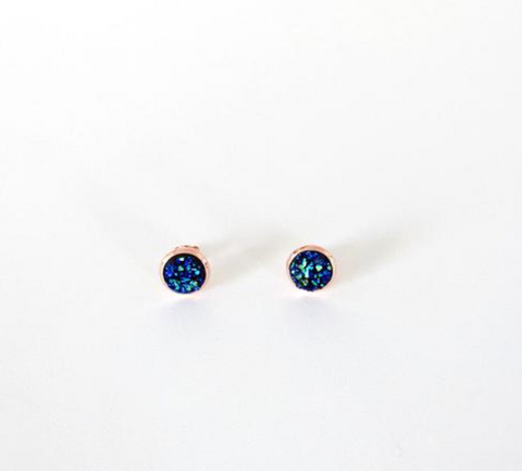 Kalenjin Druzy Earrings -- Peacock and Rose Gold