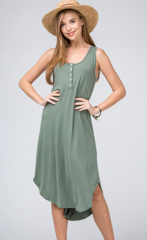 Henley Dress--Olive
