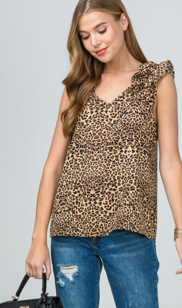 Syd Ruffle Top -- Brown