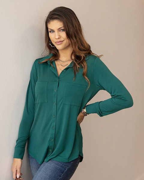 Favorite Button Up Top -- Juniper