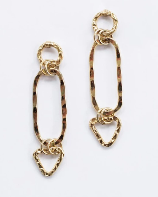 Shape Link Earrings -- Gold