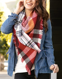 #12 Reversible Button Scarf / Poncho -- Red Plaid
