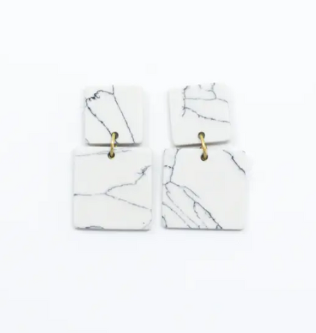 Square Marble Earrings -- White
