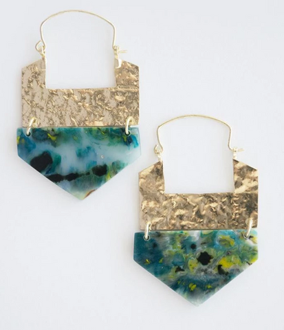 Resin Hook Earrings -- Green