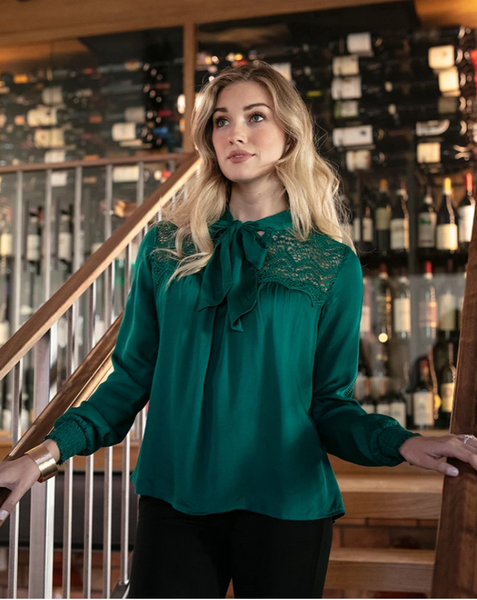 Bow and Tie Blouse -- Emerald