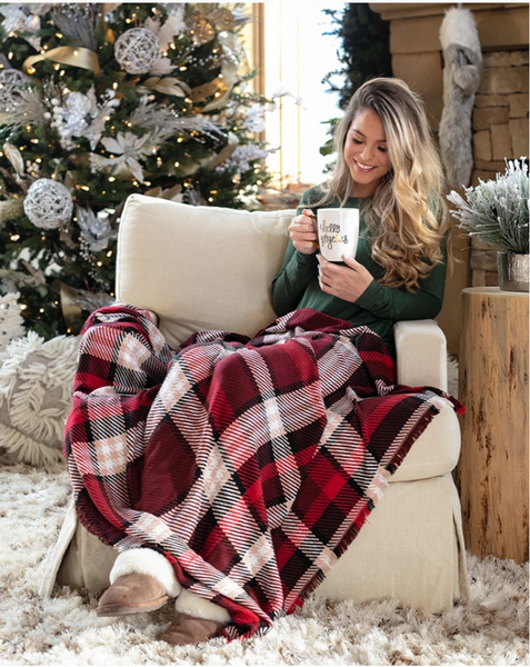 Holiday Throw Blanket -- Red Plaid