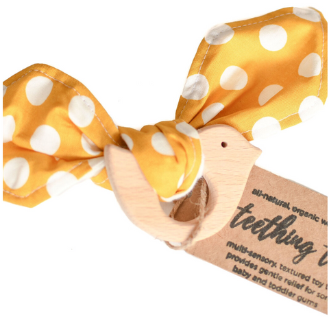 Teething Toy -- Yellow Polka Dot