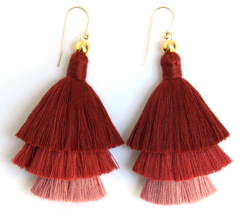 Mary Layered Tassel Earrings -- Sunset Ombre